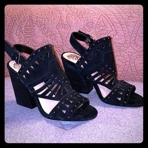 Vince Camuto Black Suede Studded Block Heels